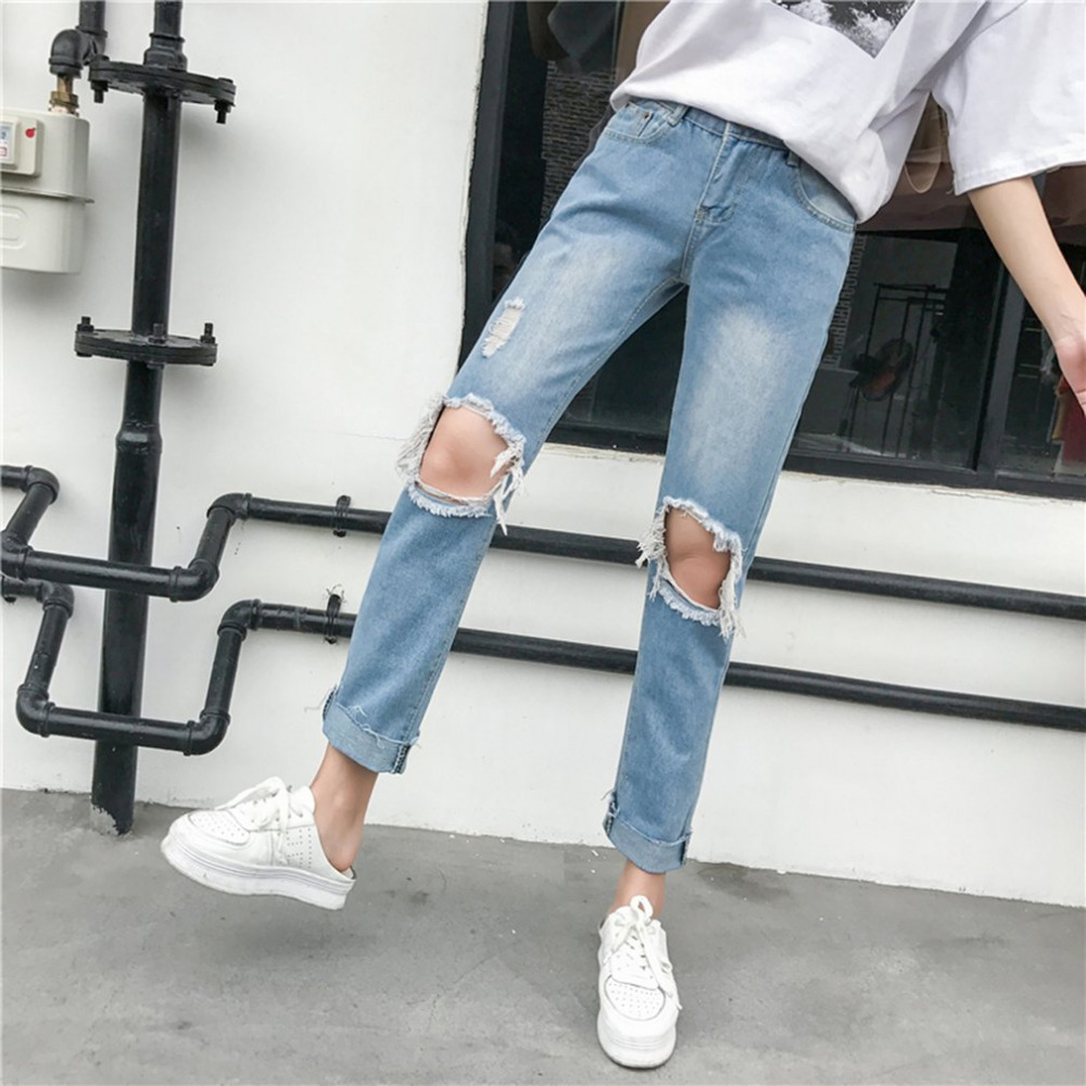 New fashion Boyfriend hole ripped jeans women pants Cool denim vintage straight jeans for girl Mid waist casual pants female