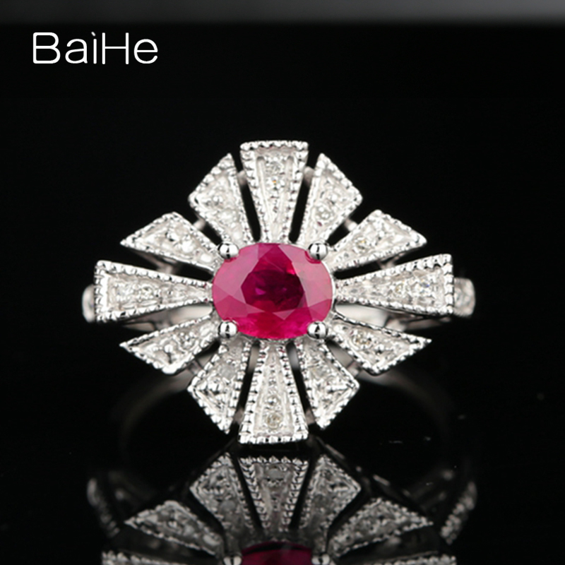 BAIHE Solid 18k White Gold(AU750) Certified Oval Cut 1.04ct Natural Ruby Engagement Women Trendy Fine Jewelry Gift Fashion Ring baihe solid 18k yellow gold au750 engagement