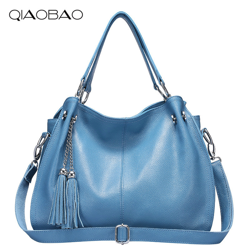 QIAOBAO 2018 New Fashion Soft Real Genuine Leather Tassel Women's Handbag Ladies Shoulder Tote Messenger Bag Purse Satchel yuanyu 2018 new hot free shipping real python skin snake skin color women handbag elegant color serpentine fashion leather bag