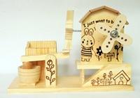 A PCS Wooden Stone Mill Waterwheel Environmental Protection Big Windmill Music Penholder Fun Gift AP5281558