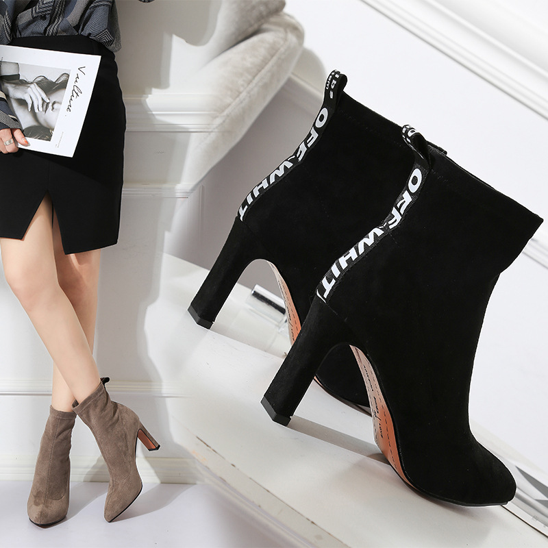 Faux Suede fashion Ankle Boots for Women Shoesigh Pointed Toe High Square Heel Botas Mujer Botte Femme Socks Boots 2018 Autumn цена