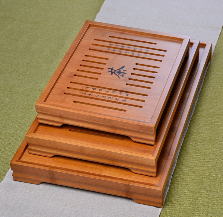 Hot Sale 3 Size Kung Fu Tea Set Natural Wood Bamboo Tea Tray Rectangular Traditional Bamboo Puer Tea Tray Chahai Tea Table|Tea Trays| |  - title=