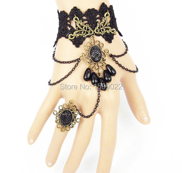 Handmade Black Lace Exotic Dress Bracelets Hand Jewelry with Ring Gothic masquerade Female Teenagers Women Wrist Accessories