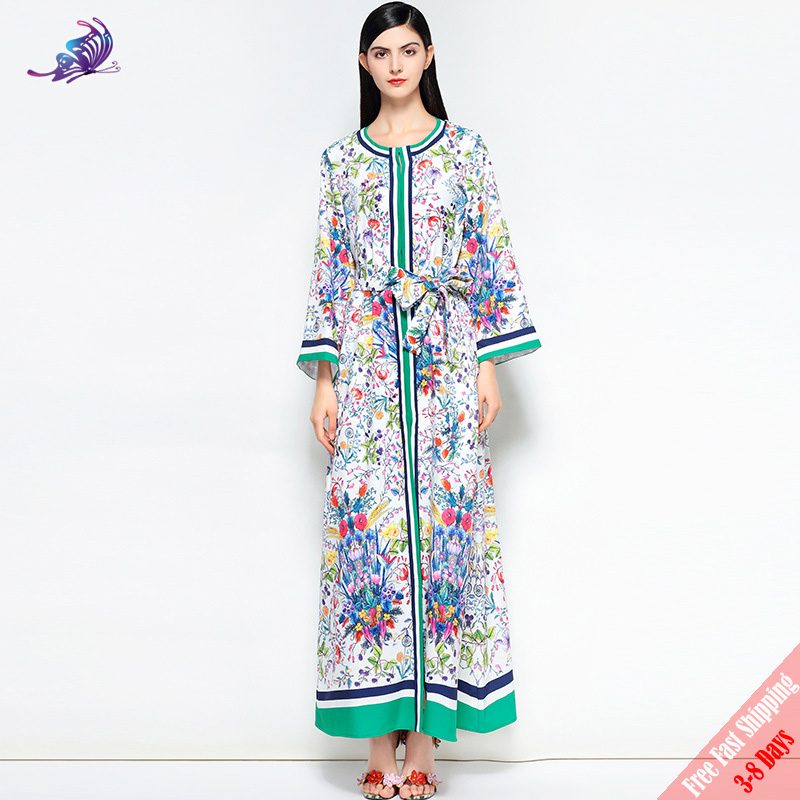 2b555867fca New 2018 Fashion Runway Maxi Dress Plus Size Women s Long Sleeve High Split  Elegant Belted Floral