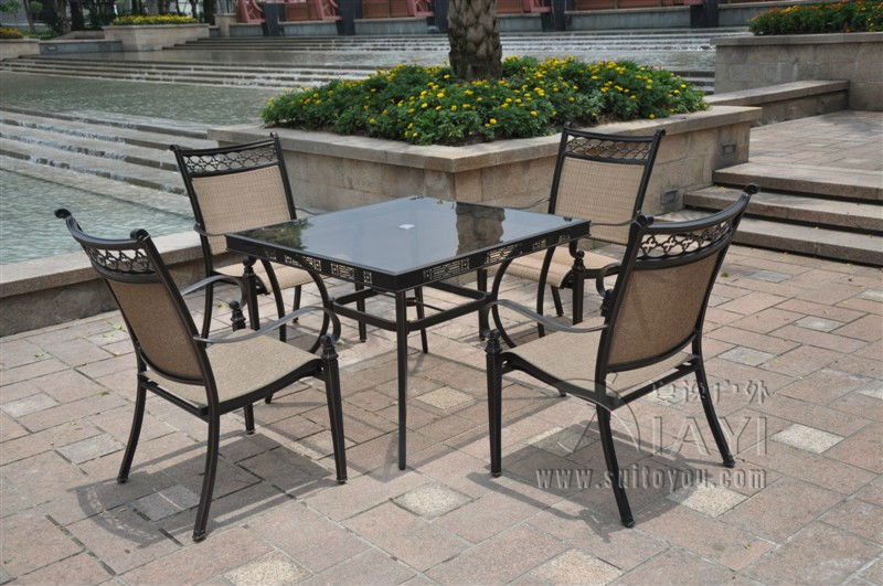Captivating 5 Piece Cast Aluminum Patio Furniture Outdoor Furniture Transport By Sea