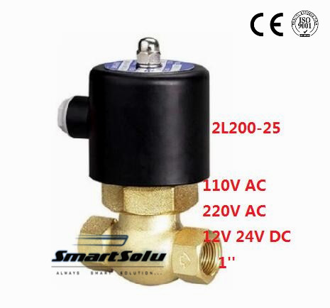 Free shipping 2L200-25 Brass 1'' Electric Steam Solenoid Valve NC,PTFE 110V 220V 12V 24V 1 2bspt 2position 2way nc hi temp brass steam solenoid valve ptfe pilot