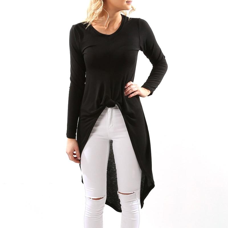 Asymmetrical Curved Hem Casual Shirts Tops Black Long
