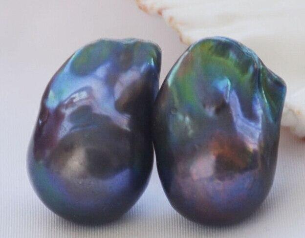 Free Shipping Hot sale >>>>>Huge 20mm BAROQUE Peacock Black Keshi Reborn PEARL EARRING цена