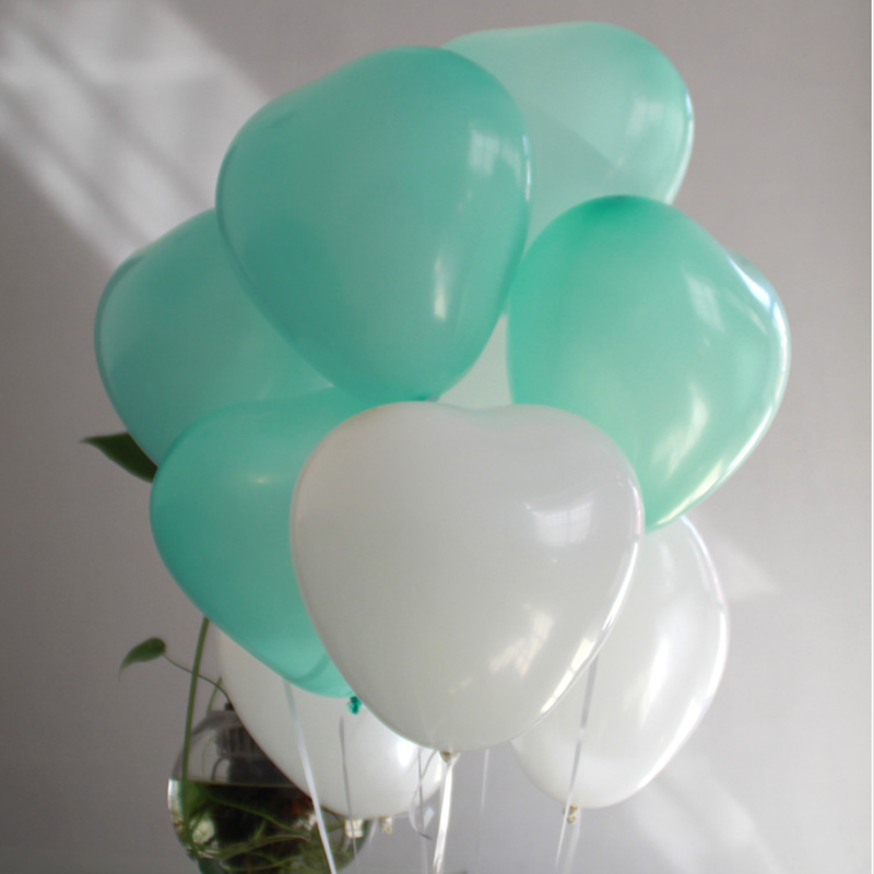 10pcs12inch Tiffany Blue Heart-shaped Latex Balloon Wedding Party Balloons Decor