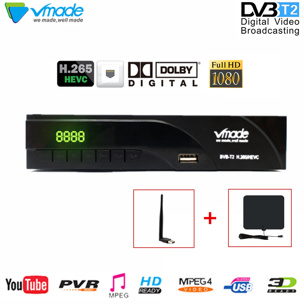 Vmade H.265 AC3 MPEG-4 dvb-t2 Digital TV Box Dvb-T2 Terrestrial TV Receiver Dvb T2 k6 television set-top box with wifi & AntennaVmade H.265 AC3 MPEG-4 dvb-t2 Digital TV Box Dvb-T2 Terrestrial TV Receiver Dvb T2 k6 television set-top box with wifi & Antenna