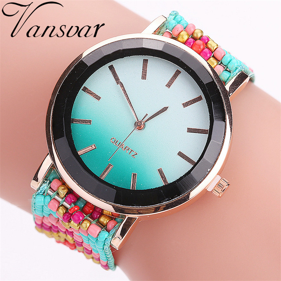 Hot Selling Vansvar Fashion Håndlavet Flettet Ur Casual Kvinder Armbåndsure Luksus Ladies Quartz Watches Relogio Feminino 2115