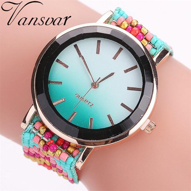 Hot Selling Vansvar Fashion Handmade Braided Watch Casual Women Wrist Watches Lu