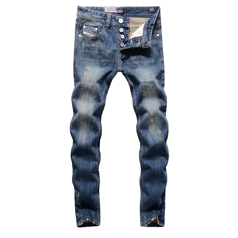 2017 High Quality Dsel Brand Men Jeans Fashion Designer Distressed Ripped Jeans Men Straight Fit Jeans Home,100% Cotton,9003-C 2017 new original high quality dsel brand men jeans straight fit distressed ripped jeans for men dsel brand jeans home 604 a