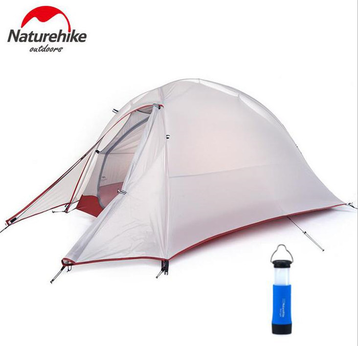 Naturehike Tent 20D Silicone Fabric Ultralight 1 Person Double Layers Aluminum Rod Camping Tent 4 Season With Mat outdoor double layer 10 14 persons camping holiday arbor tent sun canopy canopy tent