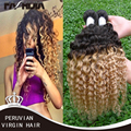 8А Отработку Девственница Перуанский Странный Вьющиеся Волосы 4 Шт. Ombre Человека Наращивание волос 1B 27 Два Тона Вьющиеся Волны Смешанная 10-30Peruvian волос
