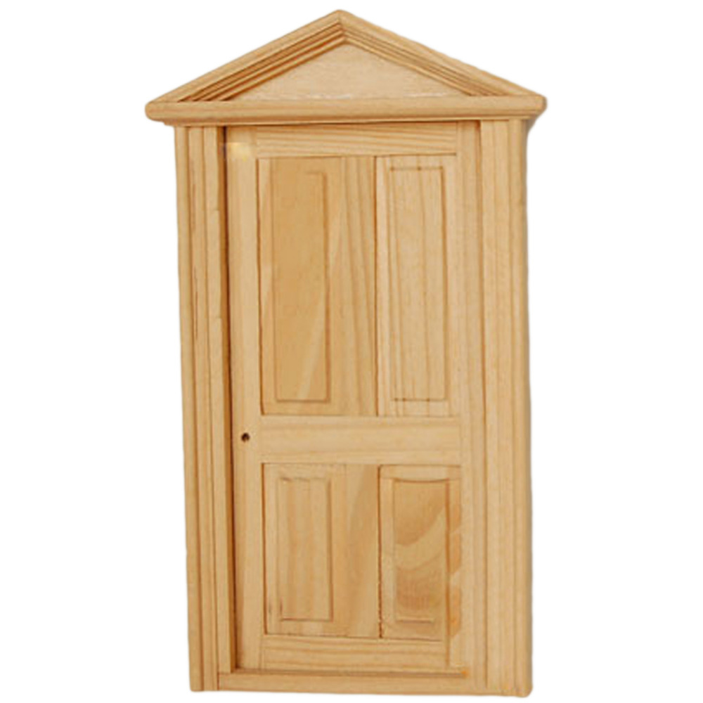 Best Dollhouse Miniature Furniture Toys Accessories 4-Panel Exterior Wooden  Door Matching Frame for 1:12 Modern Mini Doll House