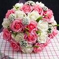 2017 Cheap Wedding Bouquet Bridal Bridesmaid Flower Pink/Red/Purple/Blue Artificial Flower Rose Bride Bouquets buque de noiva
