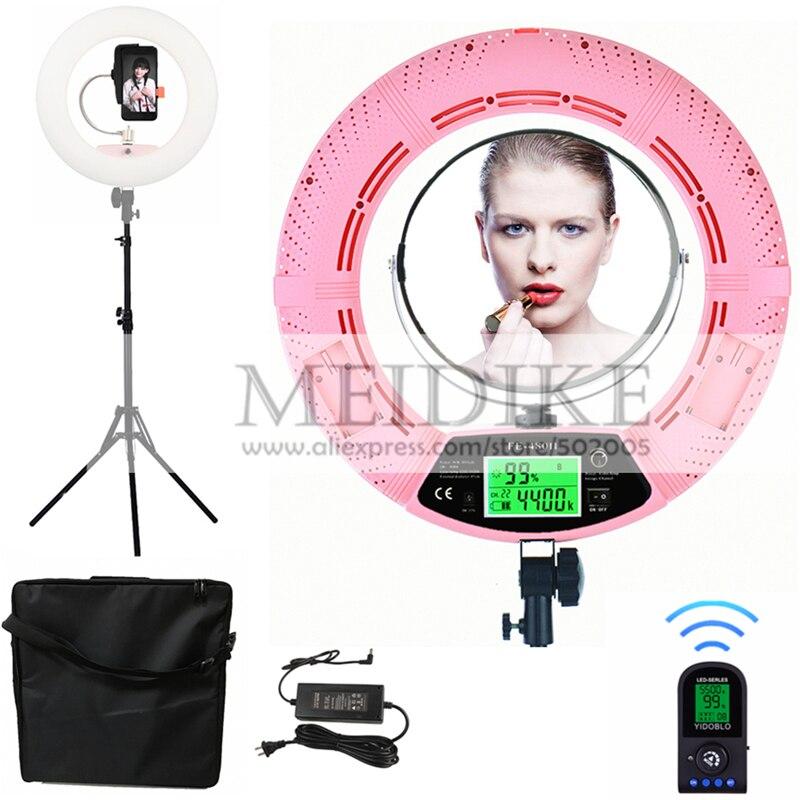 Yidoblo rosa FE-480II bio-color anel ajustável luz maquiagem beleza led anel lâmpada de transmissão fotográfica luz + suporte + saco