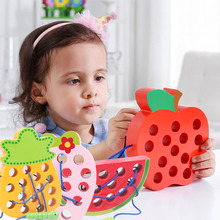 Wooden Toy Bug Eating Apple Puzzle Simulation Large Watermelon Strawberry Pineapple Threading Educational Toys for Children