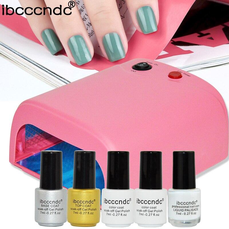 ФОТО Newest Manicure Tools Set For Nail Art Design 36W UV Lamp 2 Colors 7ml Gel Polish Base Top Coat Primer with Liquid Palisade Lak