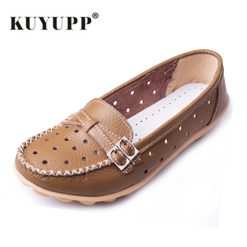 KUYUPP Hollow Out Women's Flat Shoes Cow Leather Loafers Casual Moccasin Driving Shoes Indoor Flat Slip-on Slippers YDT13 branded men s penny loafes casual men s full grain leather emboss crocodile boat shoes slip on breathable moccasin driving shoes
