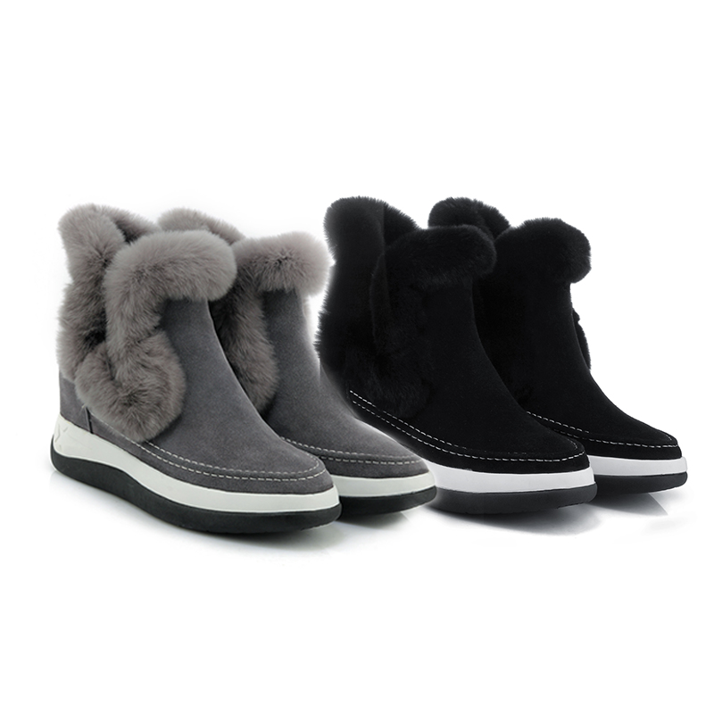Curvaness Chaussures Fourrure Neige Noir Pour Hiver slip Non Femmes Plus Bottes 2018 Loisirs De Cheville Mi gris Dames mollet Velours rtqgXr