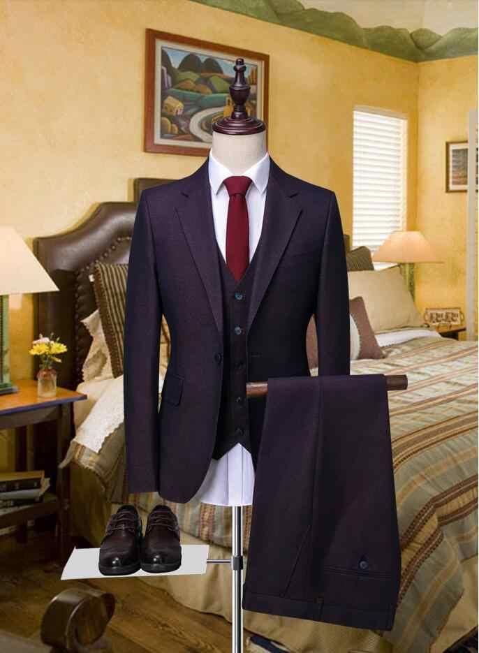 2018新しいブレザー花婿の付添人スーツスリムフィットメンズウェディングドレスウエディングディナースーツ新郎タキシード3ピースジャケットパンツベストビジネススーツ