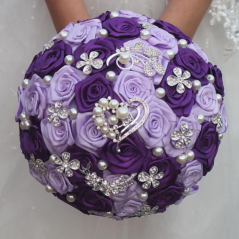 Romantic Purple Artificial Rose Flowers Wedding Bouquet Bridal Hand Holding Crystal Brooches Bouquet Flowers de novia W1255