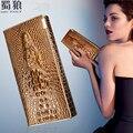 Mujeres Cartera Femenina Cerrojo Monederos Titulares de Marca 3D Relieve de Cocodrilo Cocodrilo de Las Señoras Del Cuero Genuino de Largo Embrague Carteras