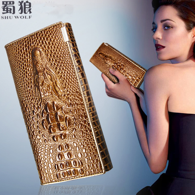 SHU WOLF Женские кошельки из кожи крокодила, воловьей кожи, мода 2017! Новый бренд с длинным 3D рисунком, модный женский кошелек