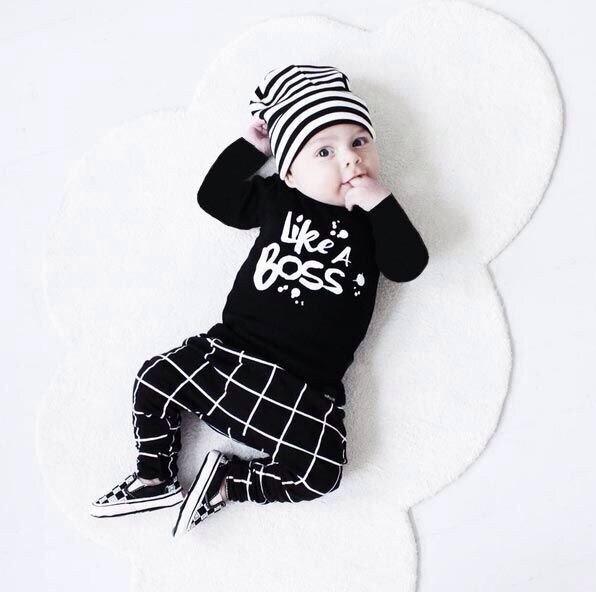 2019 Autumn Fashion Baby Boy Clothes Unisex Black Cotton Long-sleeved Letter Milk T-shirt+trousers Newborn Baby Boy Clothing Set