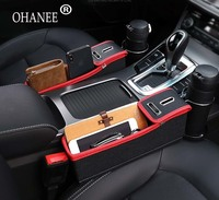 Vehicle Luxury Crevice Storage Box Grain Chair Organizer Car Seat Gap Slit Pocket Holder For Wallet