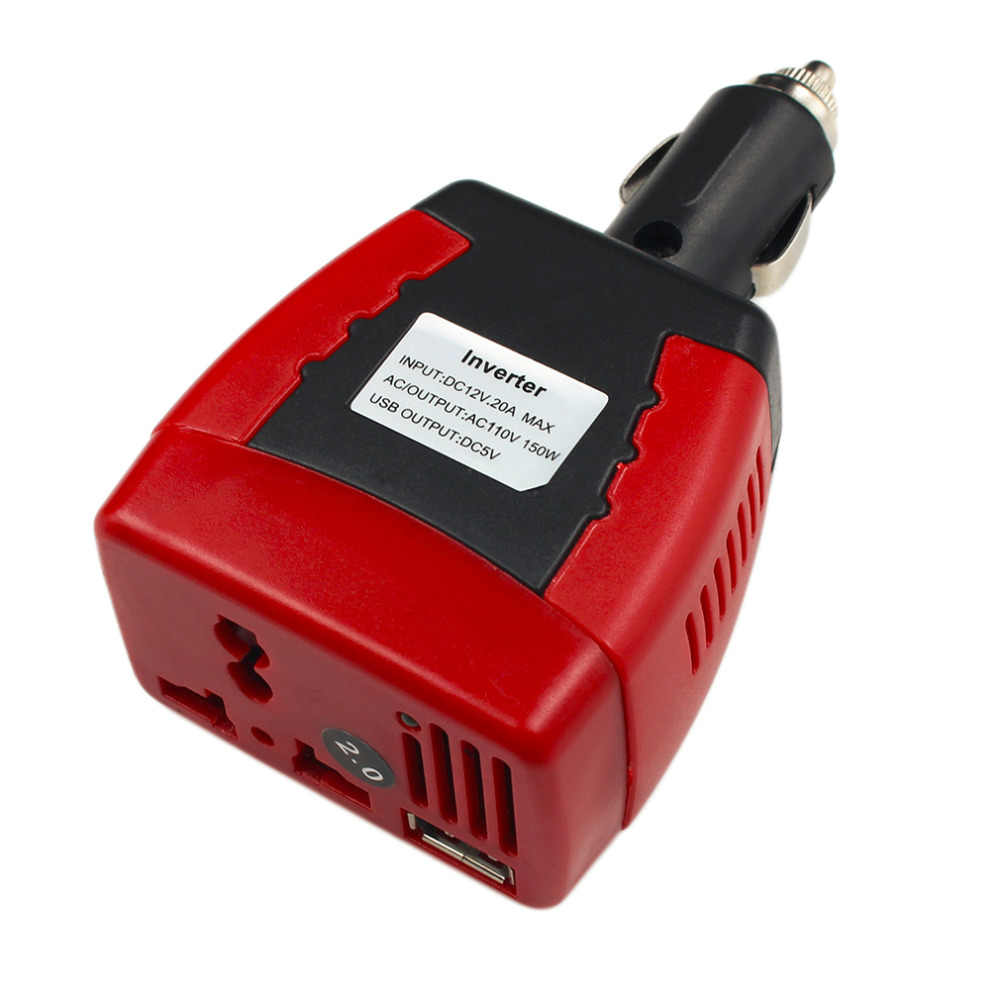 Cigarette Lighter Power Supply 150W 12V DC To 110V AC Car Power Inverter Adapter With USB Charger