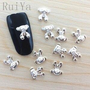 50 шт. японский 3D металлический сплав Kawaii милые наклейки для ногтей Медведь DIY Инструменты для ногтей для маникюра очаровательные шпильки ак...