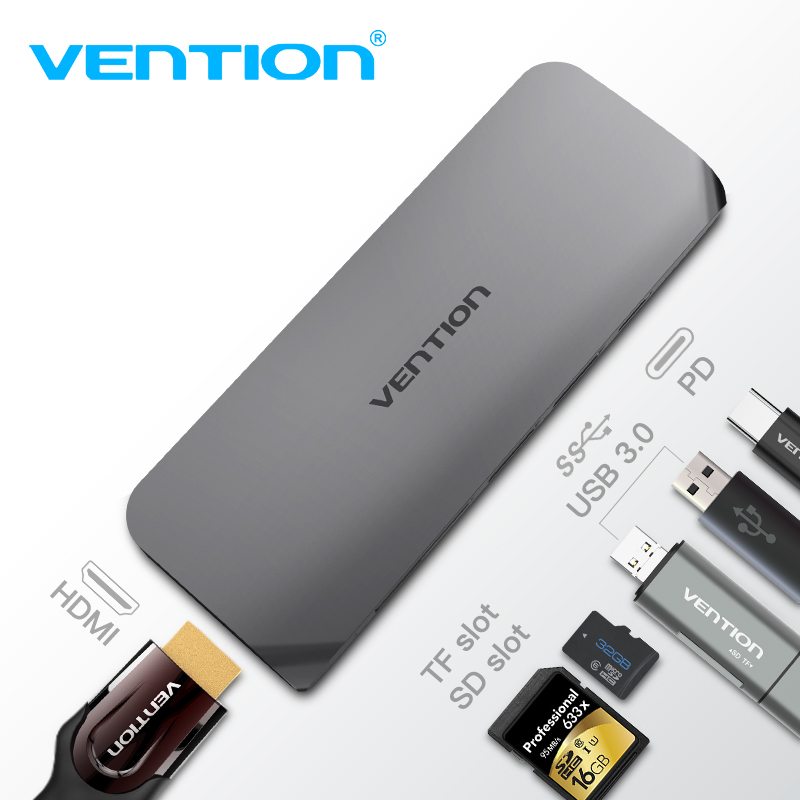 все цены на Vention USB C to HDMI HUB Type C to USB 3.0 HDMI 4K Thunderbolt 3 Adapter for Macbook Samsung Galaxy S9 Huawei P20 Pro USB HUB онлайн