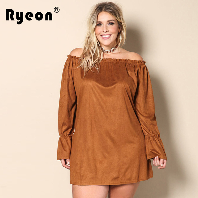 096b00a9e233 Ryeon Plus Size Women Autumn Big Sizes Dresses Off Shoulder Loose Suede Black  Brown Flare Long Sleeve Casual Vintage Mini Dress