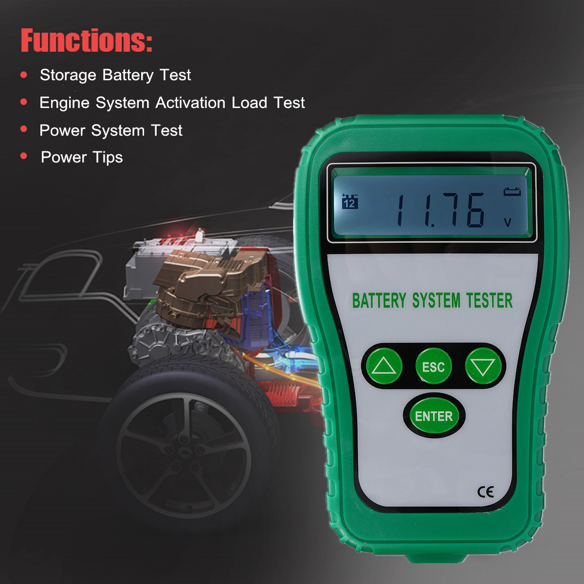 12V LCD Digital Battery Tester Analyzer Tester Cranking Amps Battery Alternator Battery System Resistance Voltage Life Analysis motopower grey 12v smart digital battery tester voltmeter alternator analyzer with lcd and led display for car motorcycle boat