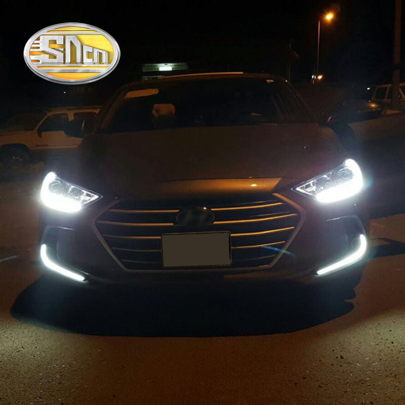 For Hyundai Elantra 2016 2017,Turn Yellow Signal Relay Waterproof ABS Car DRL 12V LED Daytime Running Light Daylight SNCN