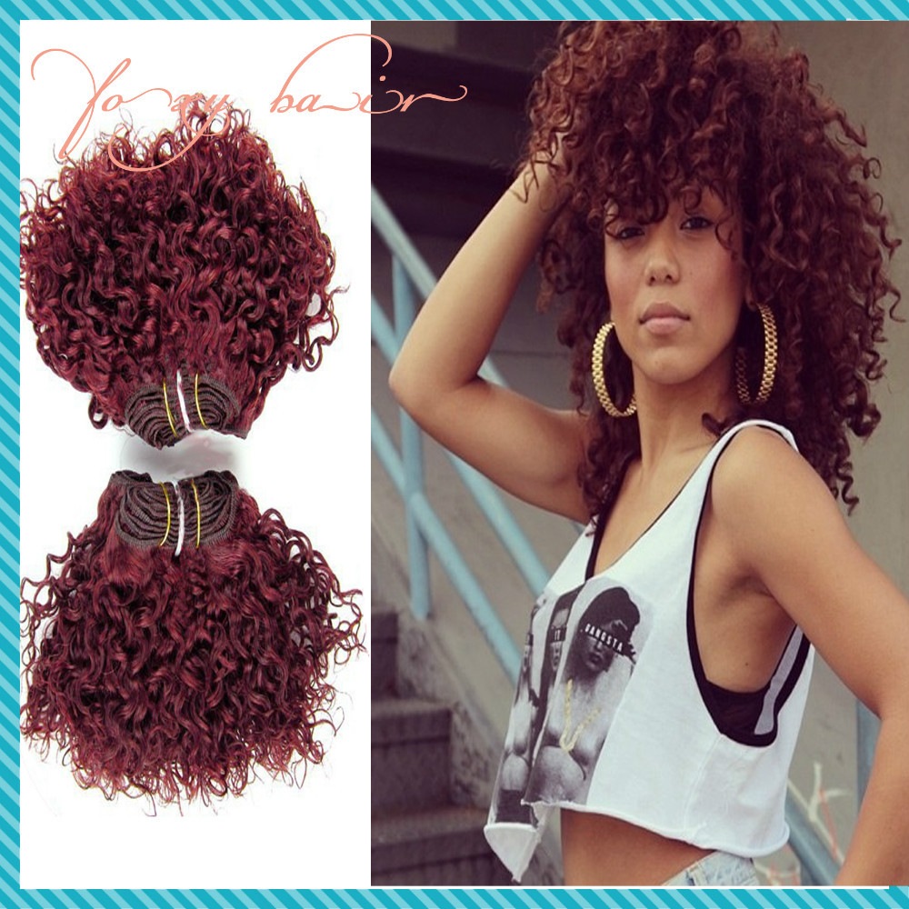 Fashion Red Hair Extensions Mongolian Kinky Curly Virgin Hair 3pcs