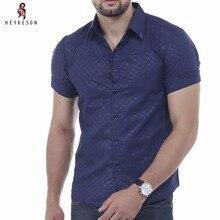 Heykeson Мужская футболка с коротким рукавом Мужская Мужские рубашки бренд 2017 Мужская одежда рубашки Гавайский Camisa социальной masculina XXXL DF