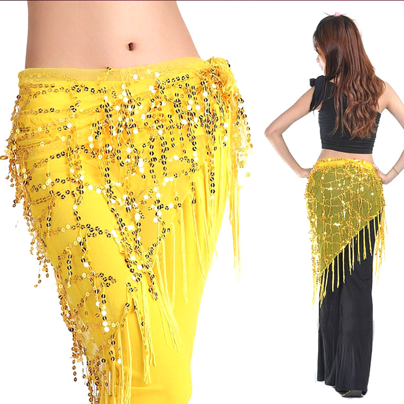 2019 New Women Belly Dance Practice Scarf Nylon Yarn Wrap Waistband Belt Skirt Sequin Tassels Dancewear Clothing Accessories