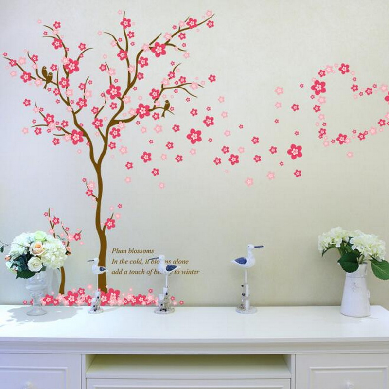 Graceful Plum Wall Stickers Kids Rooms Bedroom Living Room DIY PVC Art Beautiful Flower Tree Removable Wallpaper Home Decor