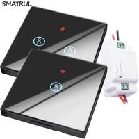 SMATRUL оптовая продажа умный беспроводной сенсорный выключатель света RF дистанционное управление стеклянный экран 1 2 3 банды настенная панел...