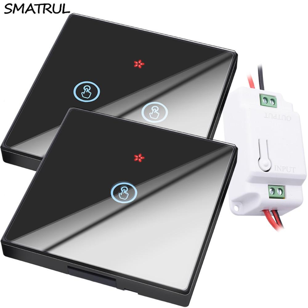 SMATRUL al por mayor inteligente Interruptor táctil inalámbrico luz RF Control remoto Pantalla de vidrio 1 2 3 Panel de pared receptor de botón lámpara led