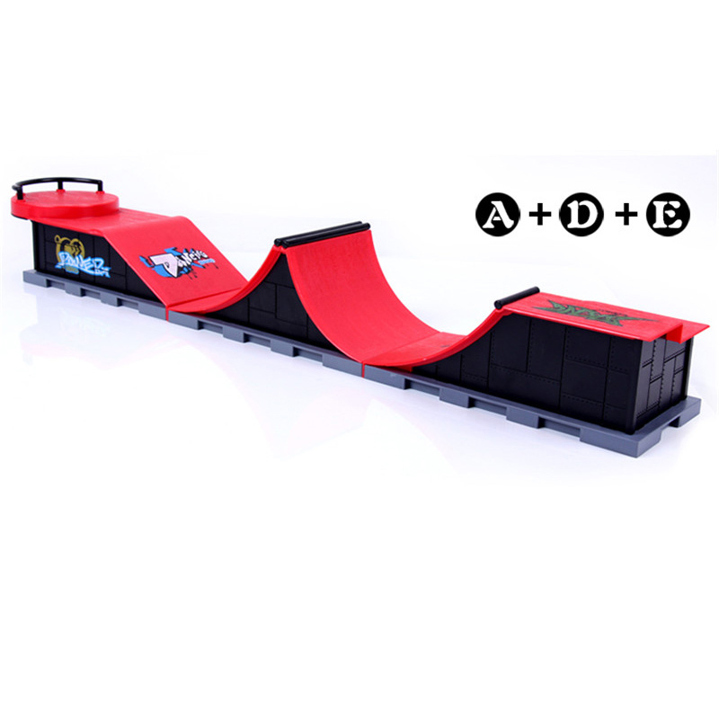 Modelo A + D + E Mini rampa dedo Skateboard Park/Skatepark Tech-Deck Skate Park incluye 3 tableros de dedos conectados Arc Chute forma
