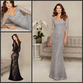 Elegant V-neck Grey Lace Mother Evening Dresses for Wedding Sheath Half Sleeves Mother of the Bride Dresses with Crystal Beads