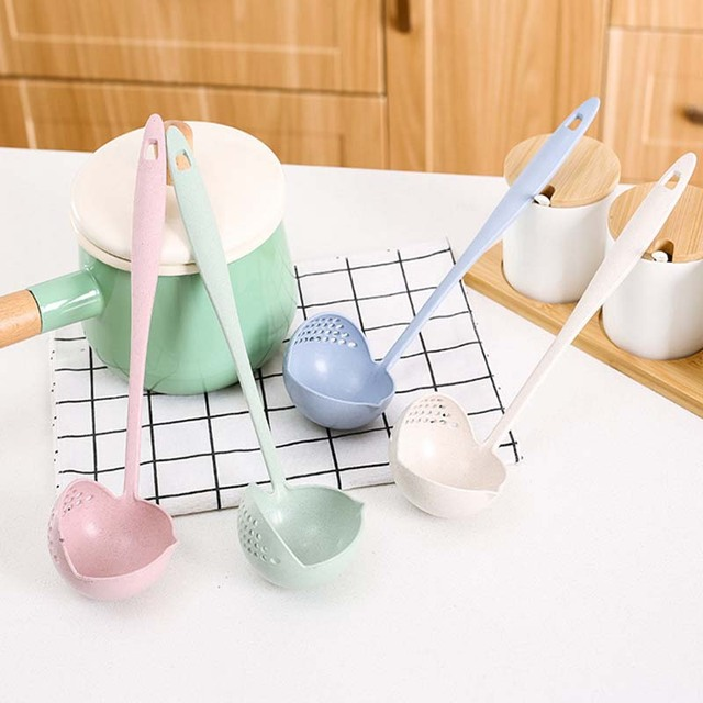 Wheat straw soup spoon colander two-in-one environmental tableware hot pot dual-use spoon Colanders & Strainers