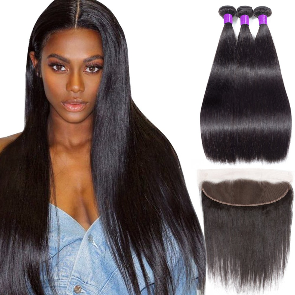 Piaoyi Mongolian Straight Hair 3 Bundles With 13 x4 Lace Frontal Closure Remy Human Hair Weave Natural Color Straight Hair