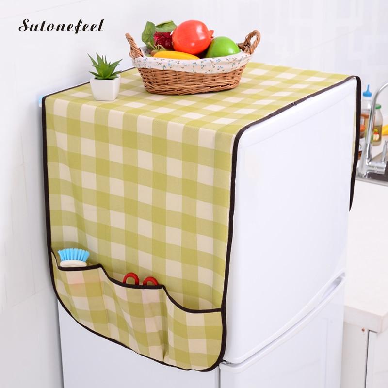 125cm Refrigerator Covers Waterproof Dust Cover Plaid Fridge Proof Pouch Sundry Storage Bag Fridge Organizer Storage