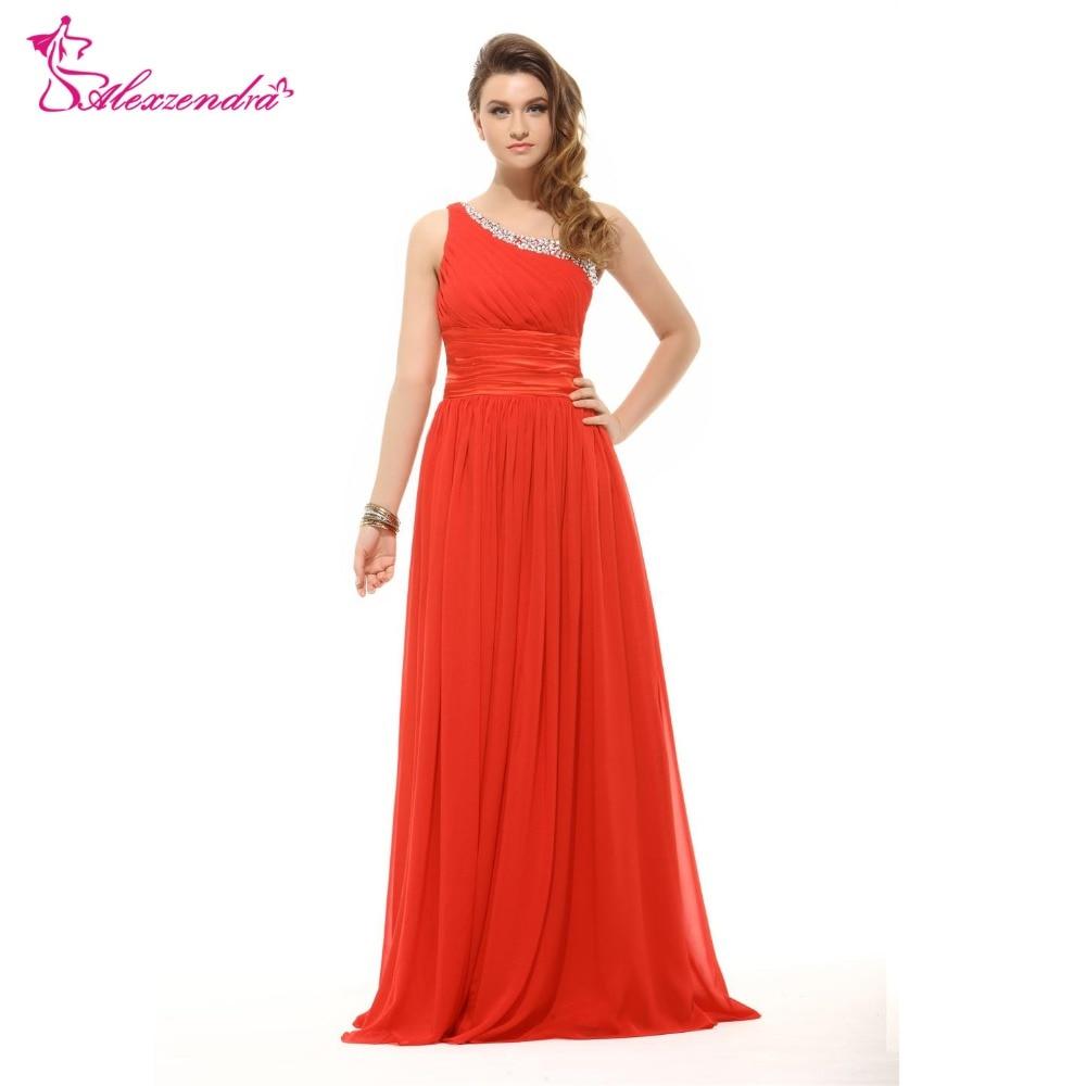 Alexzendra une ligne en mousseline de soie perlée une épaule robe de demoiselle d'honneur pour mariage longue robe de soirée robe de demoiselle d'honneur grande taille